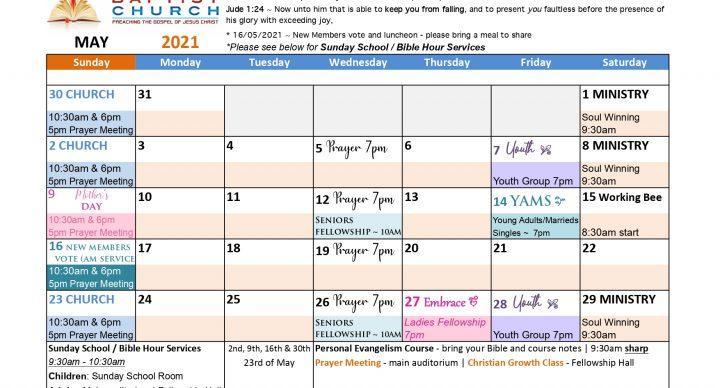 NBC - May Calendar